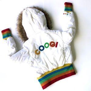 Women's Coogi White Crop Puffer Jacket Size M